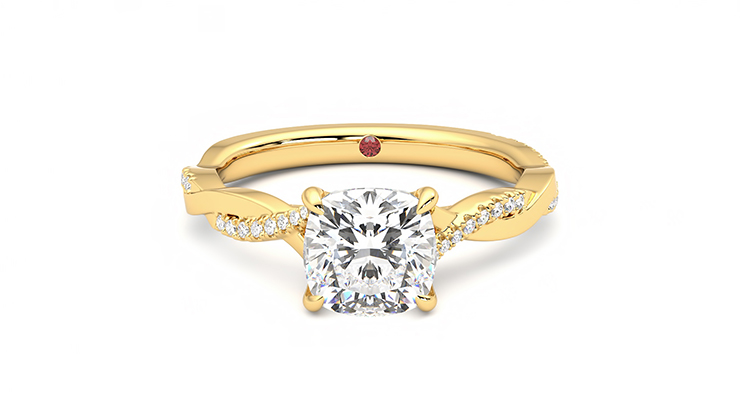 Taylor & Hart Cassia Cushion Engagement Ring 360 detail 01